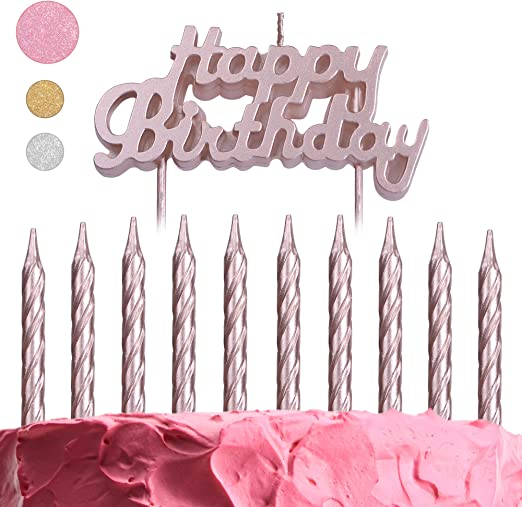 10 CAKE CANDLES with Holders Range of Colours Glitter//Birthday//Wedding//Party}