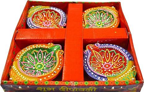 Multicolor Handicraft Storeroom Diwali Diya Set of 4 Handmade Earthen Traditional Diwali Diya Oil Lamps for Pooja.
