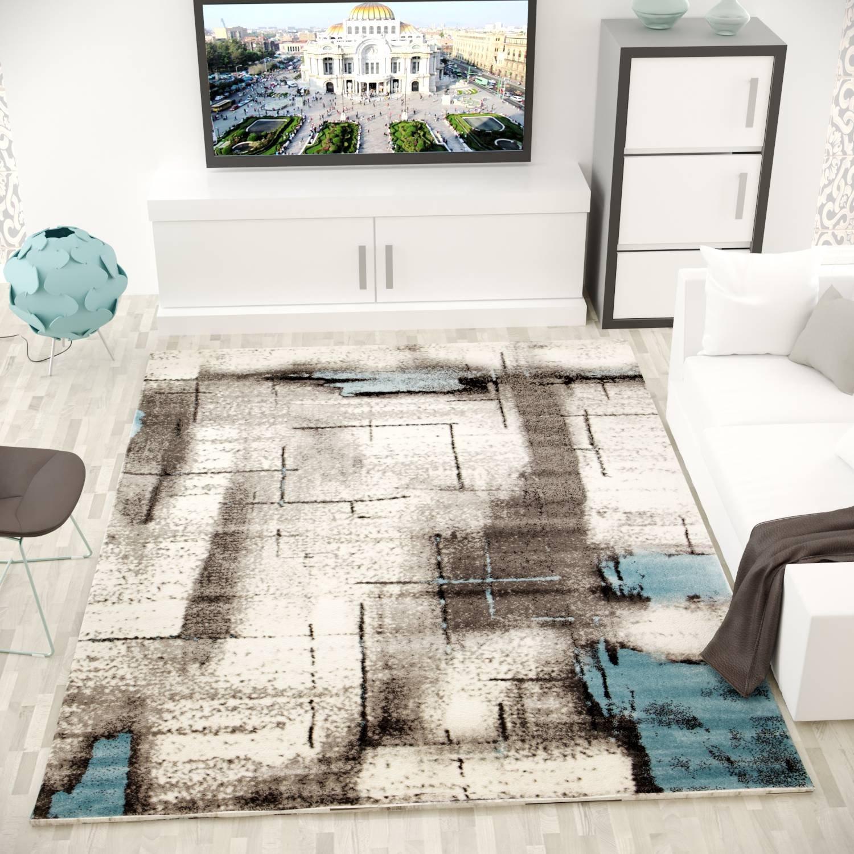 VIMODA Teppich Modern Designer Abstrakt Meliert Farbe Türkis Grau Maße  200x290 cm