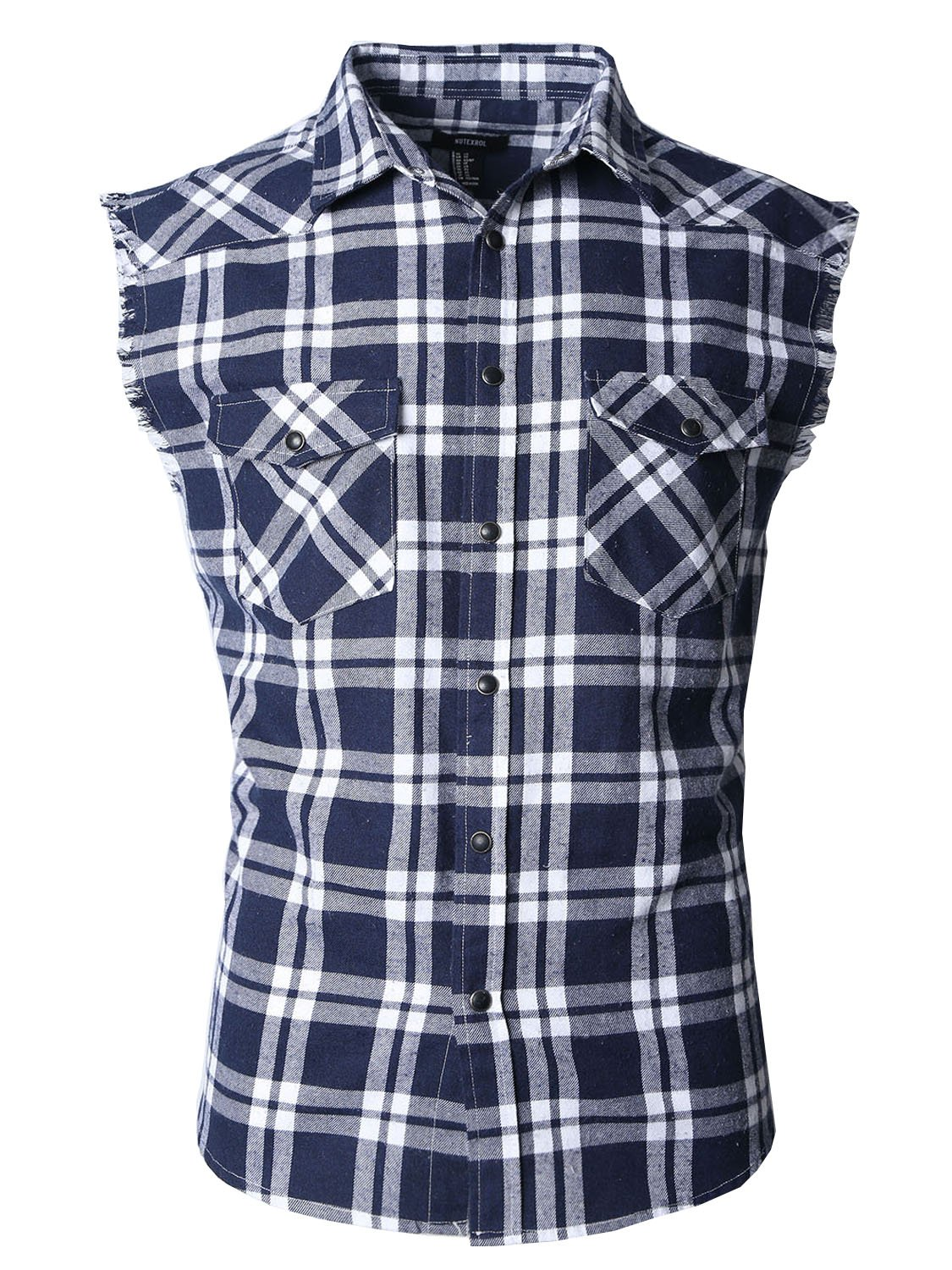 NUTEXROL Men's Casual Flannel Plaid Shirt Sleeveless Cotton Plus Size Vest Navy&White M by NUTEXROL