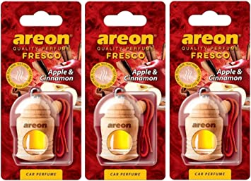 Areon Fresco Auto Duft Apfel Zimt Glas Duftflakon Flakon Holz Hängend Anhänger Spiegel Rot 4ml Pack X 3 Auto
