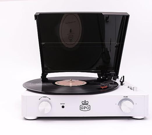 GPO Stylo II Retro 3 velocidades portátil, tocadiscos de tocadiscos independiente con altavoces estéreo incorporados - Blanco