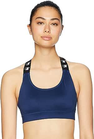 STARTER Women's Medium Impact High Neck Logo Elastic Sports Bra, Amazon Exclusive