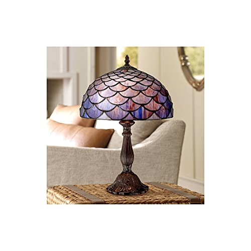 Traditional Antique Accent Table Lamp 18 High Deep Brown Blue Shell Tiffany Style Glass Shade for Bedroom Bedside – Robert Louis Tiffany