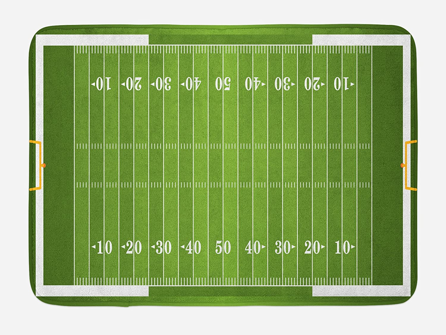 "Lunarable Football Bath Mat, Sports Field in Green Gridiron Yard Competitive Games College Teamwork Superbowl, Plush Bathroom Decor Mat with Non Slip Backing, 29.5"" X 17.5"", Green White"