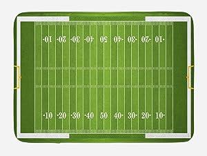 "Lunarable Football Bath Mat, Sports Field in Green Gridiron Yard Competitive Games College Teamwork Superbowl, Plush Bathroom Decor Mat with Non Slip Backing, 29.5"" X 17.5"", Green White"