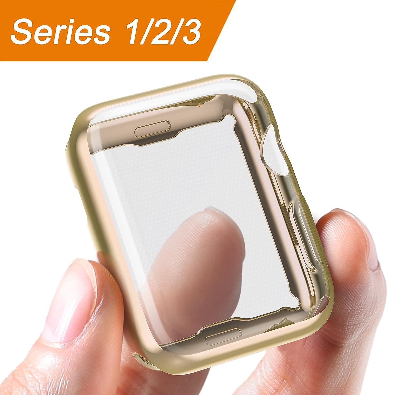 Corki Apple Watch Funda 38 mm, Protector de Pantalla Completo TPU Suave Cubierta Parachoques Protectora Carcasa para Apple iWatch Serie 3/Serie ...