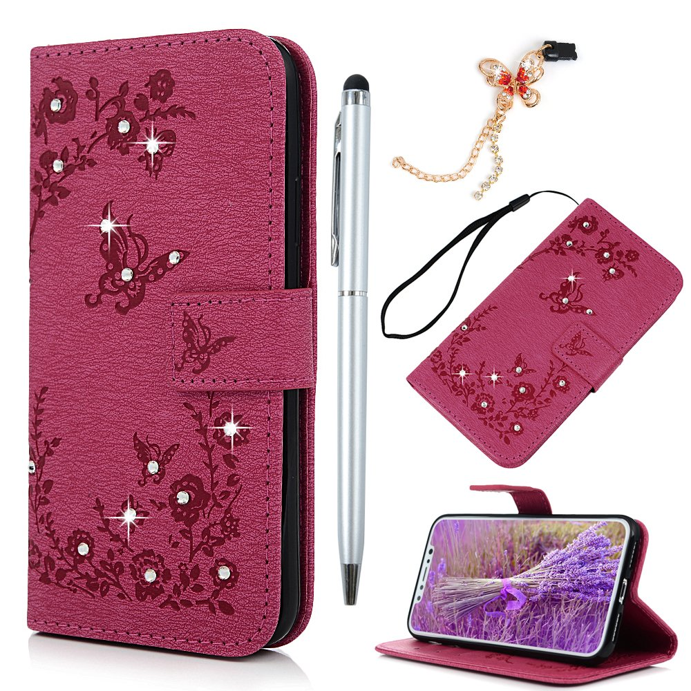 iPhone X Case,Badalink Bling Sparkly Diamonds Cover PU Leather Case Wallet Embossed Butterfly Folio Flip Case Soft TPU Magnetic Closure Cover Shockproof Bumper Cover for iPhone X with Card Slots & Wrist Strap & 1 Touch Pen & 1 Dust Plug,Gray