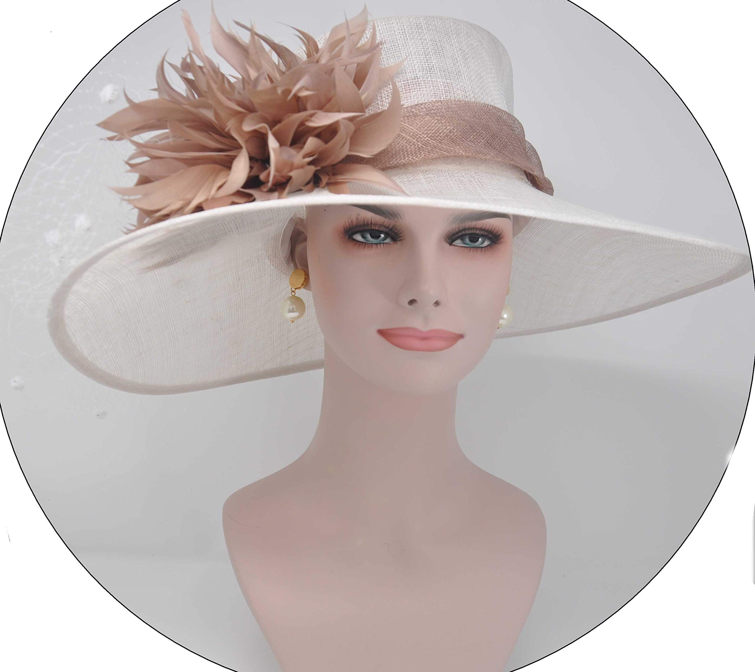 ray&danile Wide Brim Sinamay hat with Feather Flowers,White with Taupe 201801
