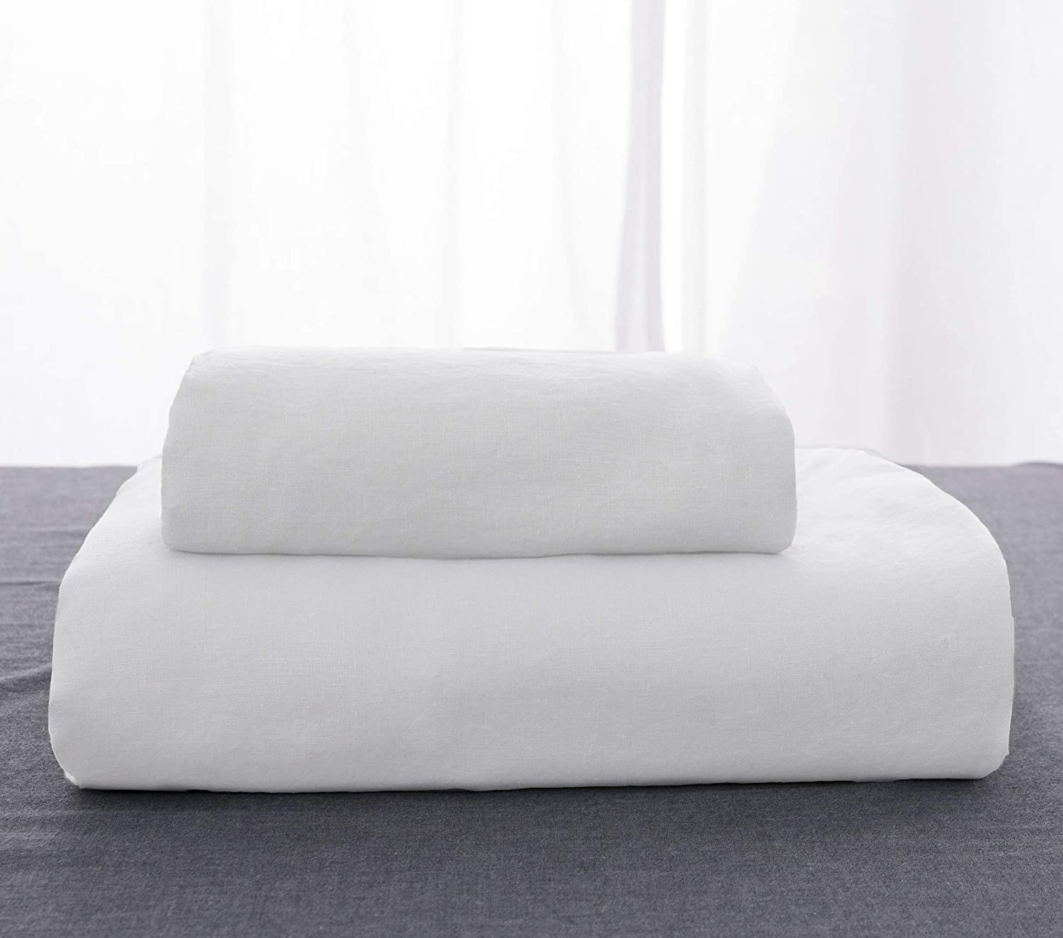 Simple/&Opulence 100/% Linen Stone Washed Euro Sham with Ruffle 26x26 Inch Pillow Cover Set of 2 White, 26x26