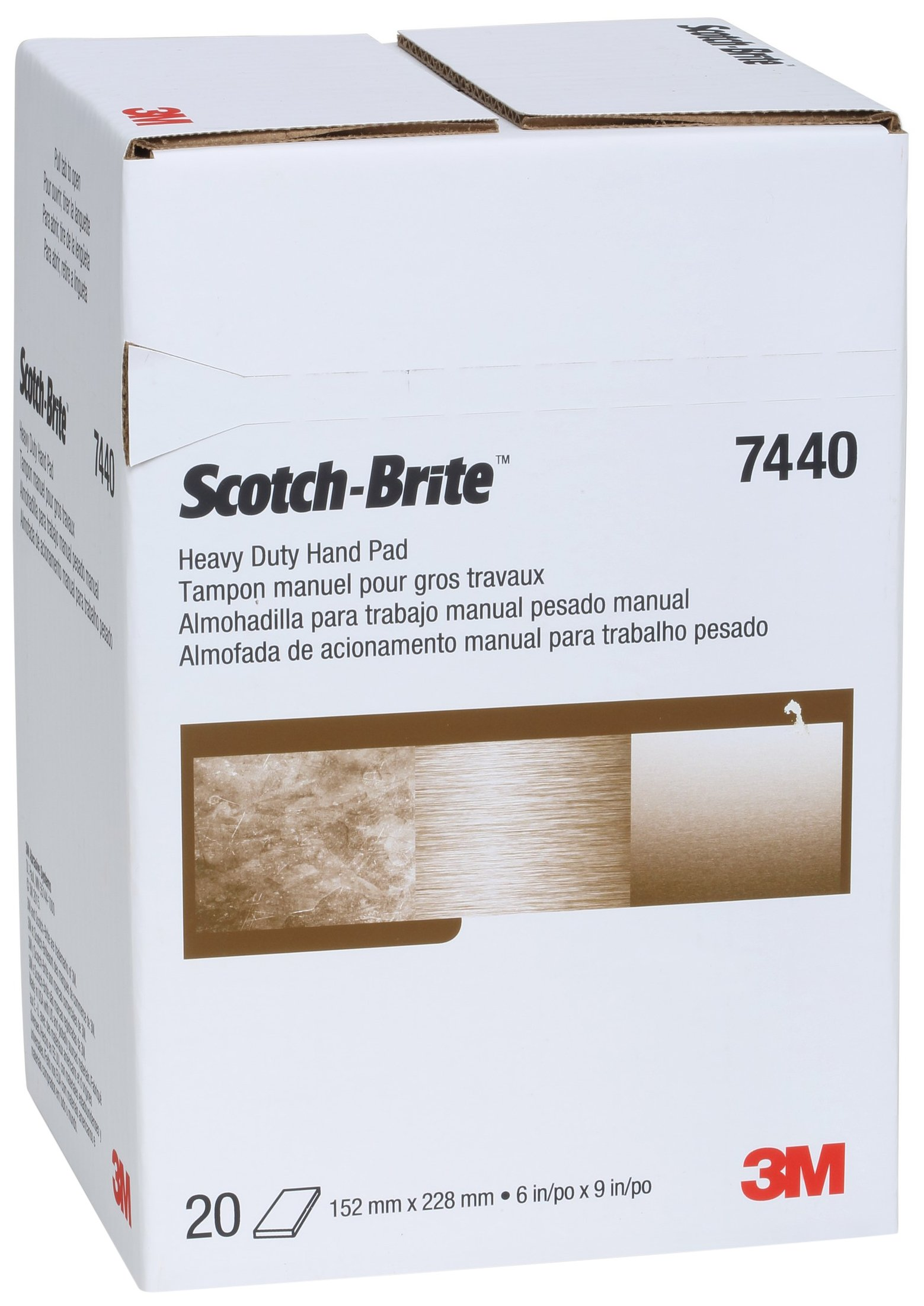 Scotch-Brite 65055 Heavy Duty Hand Pad 7440, 6'' x 9'', 6'' Width by Cubitron