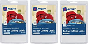 Avery No-Iron Clothing Labels, White, Assorted, Pack of 45 (40700) (3, white)
