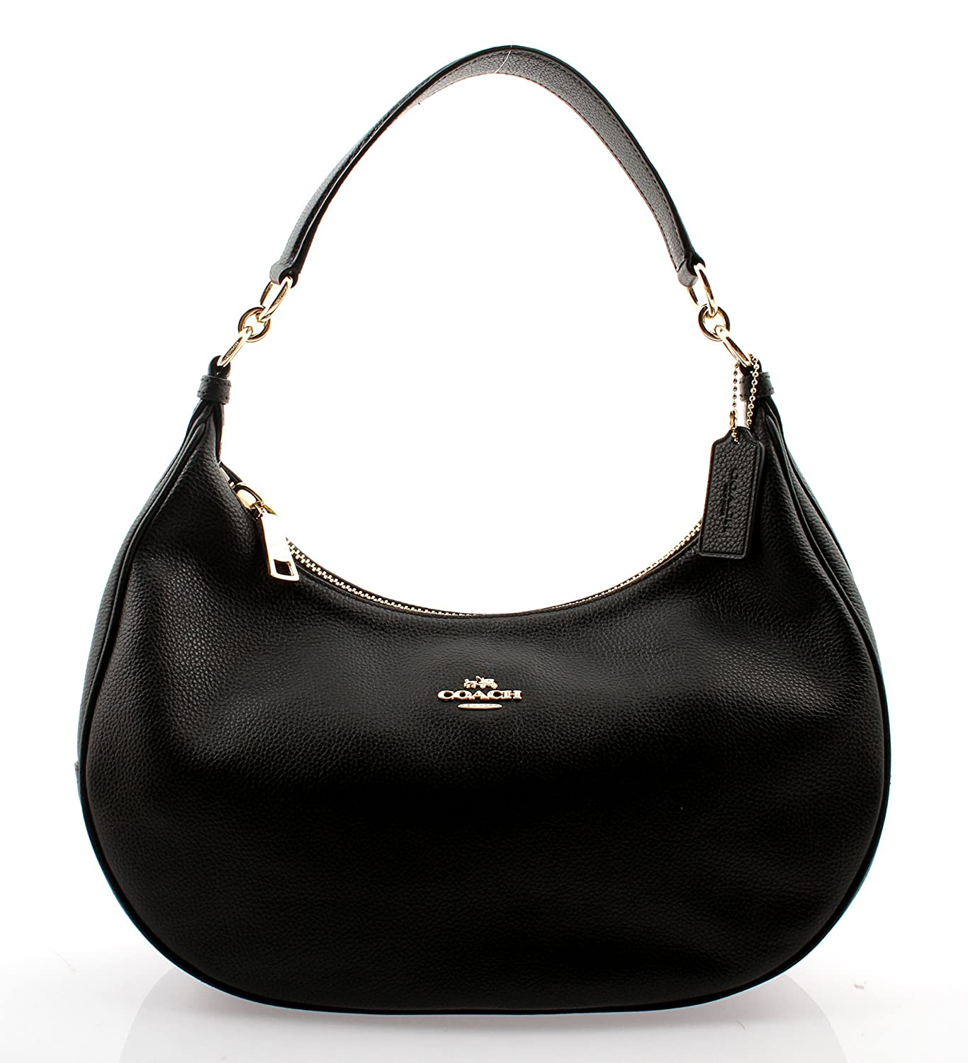 Amazon.com  Coach Pebble Leather Harley East West Hobo in Black ... acbfb64ffe87f