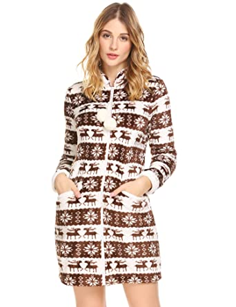 9247b46b37 Ekouaer Christmas Reindeer Sleepshirt Women s Warm Coral Fleece Nightgown  Zipper Front Pajama