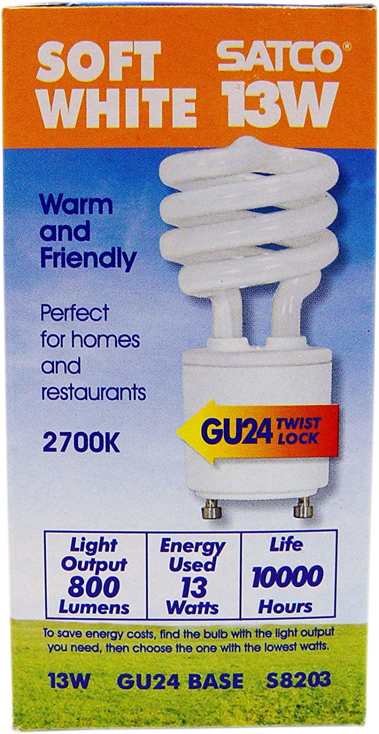 GU24 Base Satco S8203 Mini Spiral Compact Fluorescent Light Bulb Warm White Color 82 CRI 2700 Kelvin Temperature 120 Volts Pack of 6 13 Watt