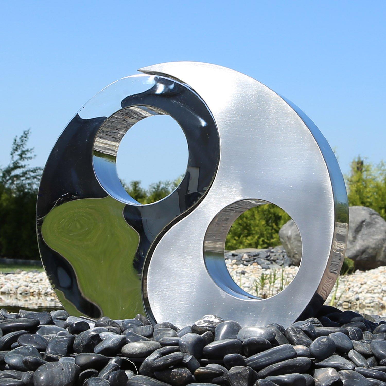 CLGarden Element Ying Yang en acier inoxydable pour fontaine de jardin Sculpture avec une hauteur de 46 cm DIY extérieur Jeu d'eau