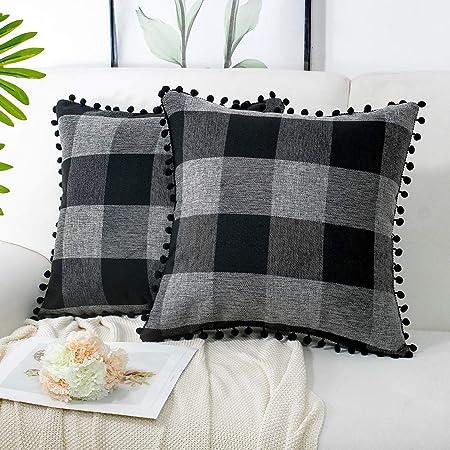2 Pcs Buffalo Plaid Check Throw Pillow