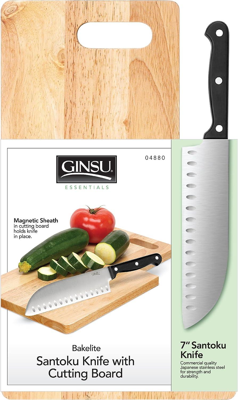 "Ginsu Stainless 7"" Santoku Knife with Cutting Board"