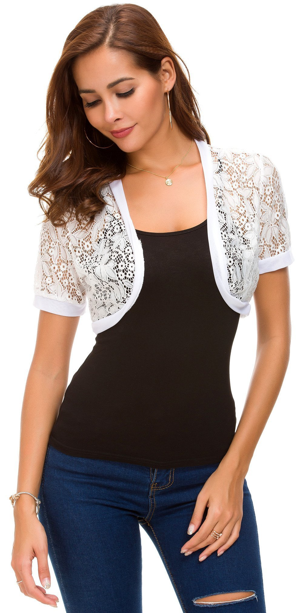 Tandisk Women Short Sleeve Floral Lace Shrug Open Front Bolero Cardigan (2XL, Y- Lace White)