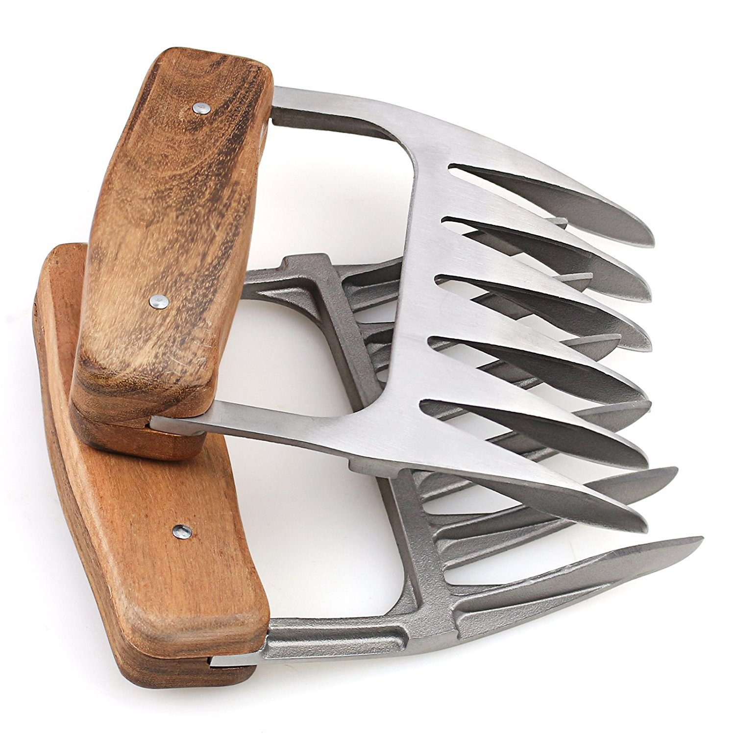 Metal Meat Claws, 1Easylife 18/8 Stainless Steel Meat Forks with Wooden Handle, Best Meat Claws for Shredding, Pulling, Handing, Lifting & Serving Pork, Turkey, Chicken, Brisket (2 Pcs,BPA Free) by 1Easylife