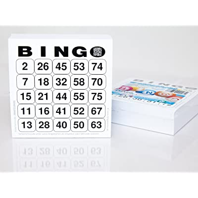200 grandes Bingo Tarjetas para personas mayores 25 de 75 (15 x 15 cm): Juguetes y juegos