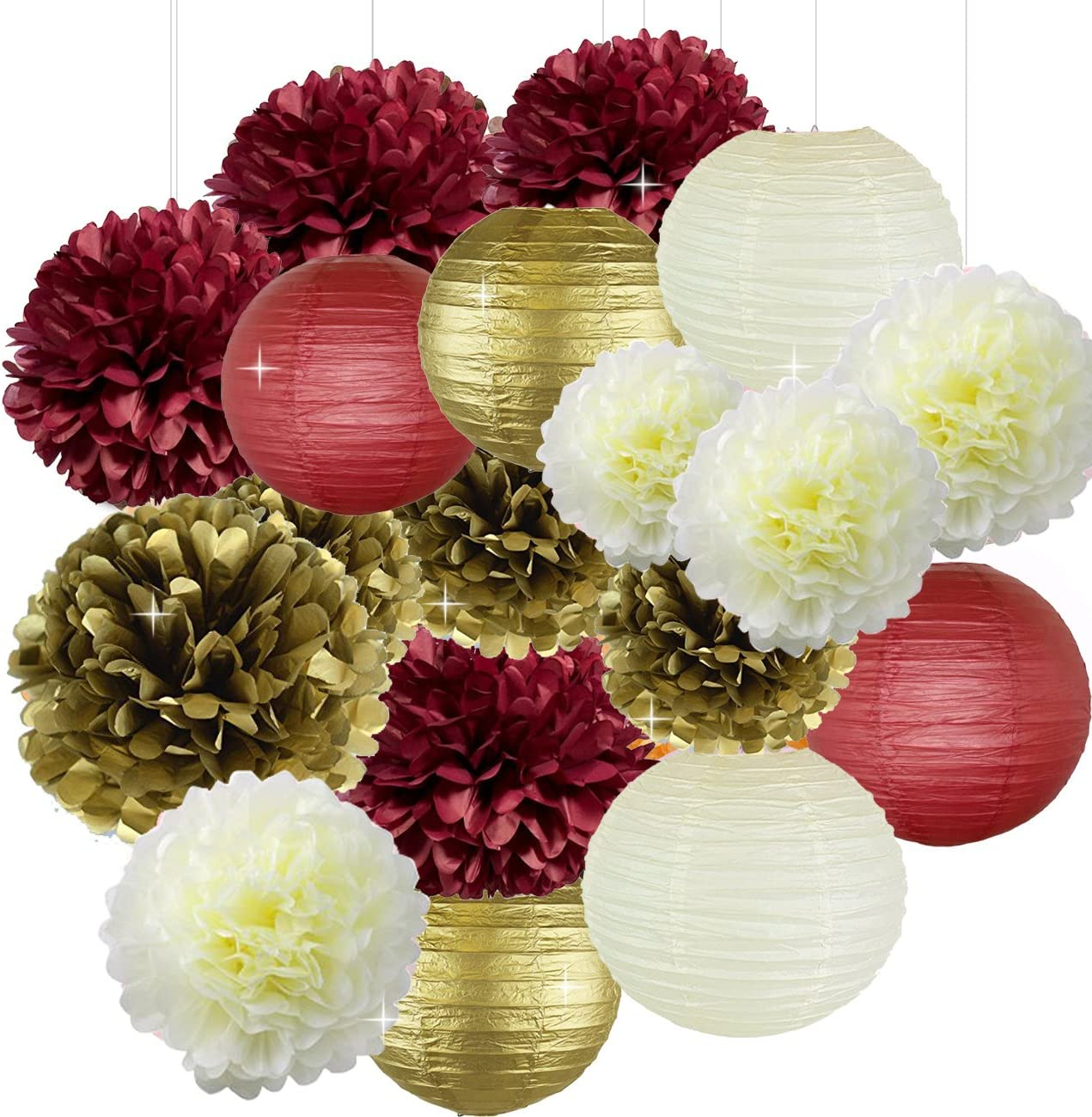 Bridal Shower Christmas Xmas Decorations 18pcs Burgundy Cream Gold Birthday Decorations Tissue Paper Pom Pom and Paper Lanterns Photo Backdrop Wedding/Bachelorette Party Decorations