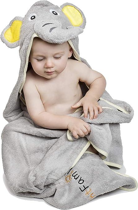 Mybrightfamily | La mejor toalla de bebé con capucha | Elefante Gris | Algodón extra suave 100% egipcio | Gran regalo para niños y niñas para la casa, piscina y playa: Amazon.es: Bebé