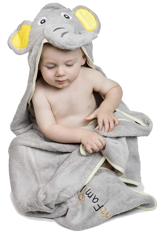Elefante asciugamano con cappuccio per bambini, in cotone naturale, morbide, di grandi dimensioni 90x 90cm Mybrightfamily