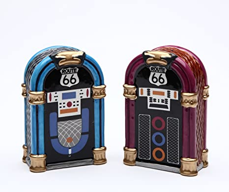 Amazon Com Cosmos Gifts 61826 Fine Ceramic Route 66 Jukebox Salt And Pepper Shakers Set 2 7 8 H Kitchen Dining