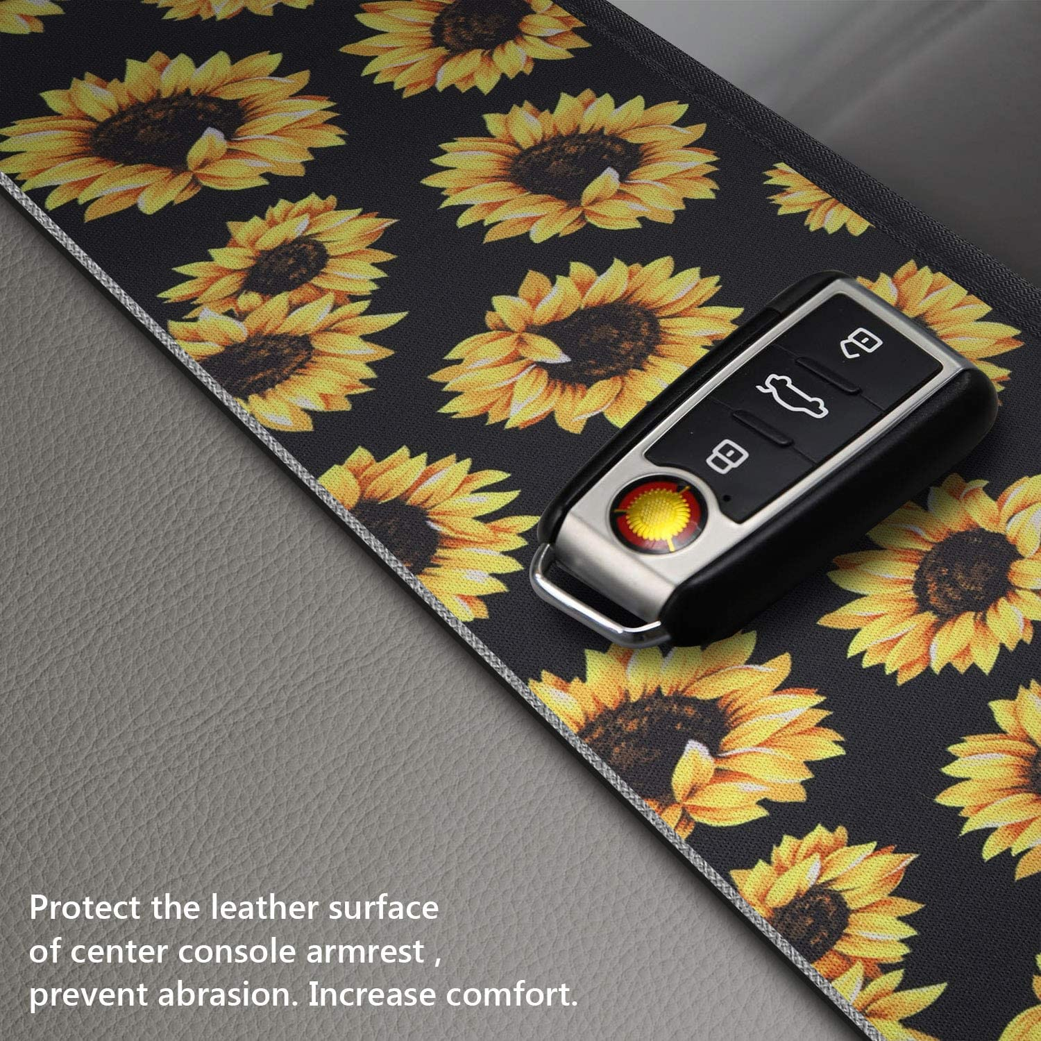 YR Vehicle Center Console Armrest Cover Pad Aqua Flower Stylish Pattern Design Car Armrest Cover Universal Fit Soft Comfort Center Console Armrest Cushion for Car