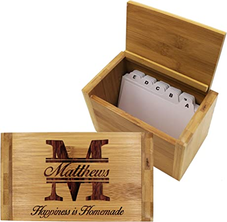 Personalizado caja de recetas para su – personalizado madera receta organizador con separadores – Cocina Regalo para mamá y la abuela: Amazon.es: Hogar