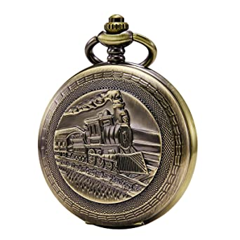 Reloj de Bolsillo Treeweto con Cadena para Hombre, analógico, Cuerda Manual, diseño de Flores de Vapor, Vetas de Madera, bisagra Doble, Bronce: Amazon.es: ...