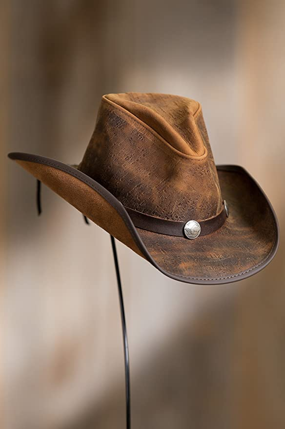 193ad8eae4e Overland Sheepskin Co Cyclone Leather Cowboy Hat with Buffalo Nickels at  Amazon Men s Clothing store