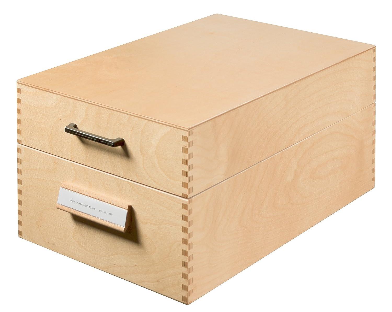 HAN 1005, boîte à fiches en bois DIN A5 horiz., pour 1.500 fiches, fond métallique/séparateur, bois naturel bac à fiches planchette séparatrice plaque séparatrice plaques séparatrices