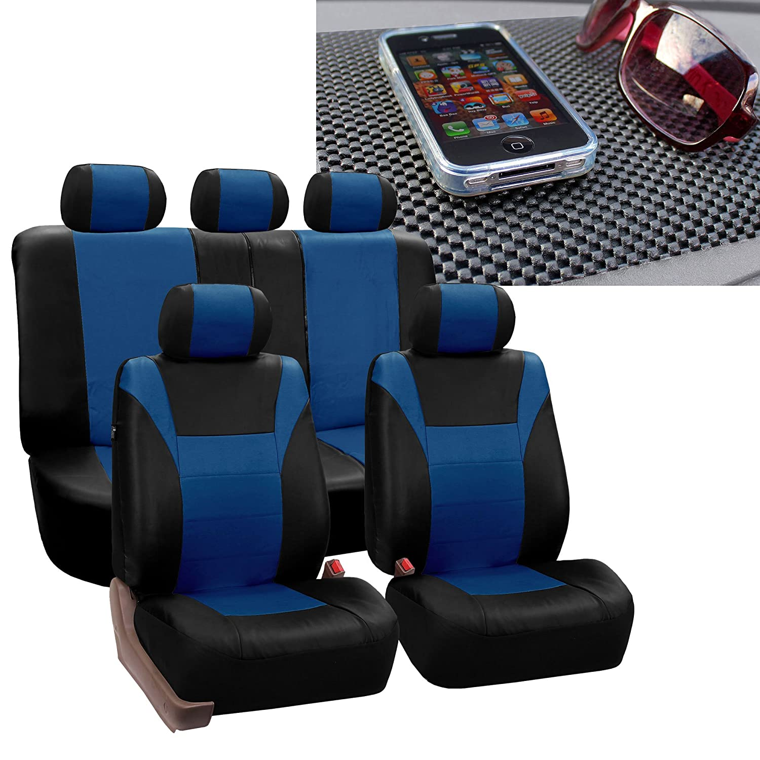 FH Group FH-PU003115 Racing PU Leather Car Full Set Blue/Black Seat Covers, Airbag Ready and Split w. FREE FH1002 Non-Slip Dash Pad- Fit Most Car, Truck, Suv, or Van