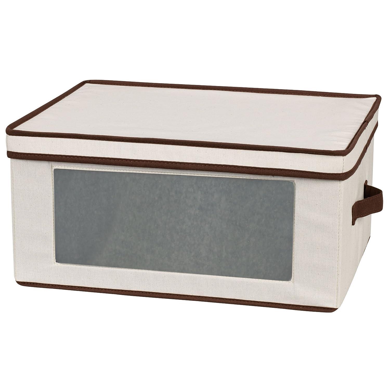 Household Essentials Flute-Style Stemware Storage Chest, Natural Canvas with Brown Trim 544