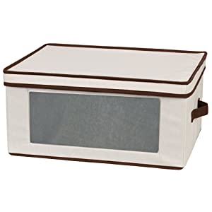 Household Essentials 540 Vision Storage Box with Lid and Handles   Cocktail Glasses   Natural Beige Canvas with Brown Trim