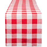 DII Cotton Buffalo Check Table Runner for Family Dinners or Gatherings, Indoor or Outdoor Parties, Everyday Use, Red, 14x72 Table Runner