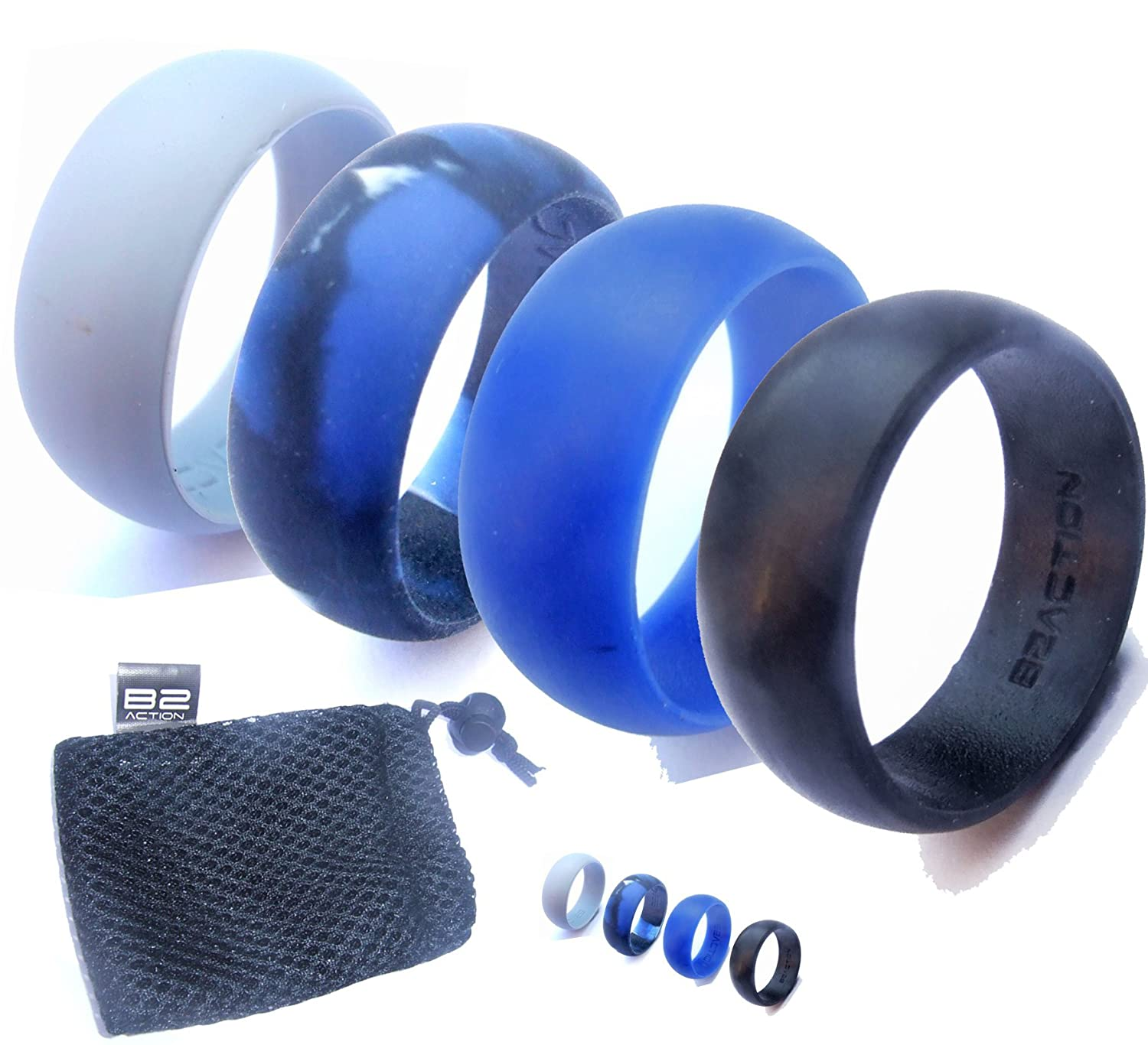 Amazon : Men's Silicone Wedding Ring Band By B2action 4 Rings Pack  (black, Gray, Blue, Camo) With Gift Box : Sports & Outdoors