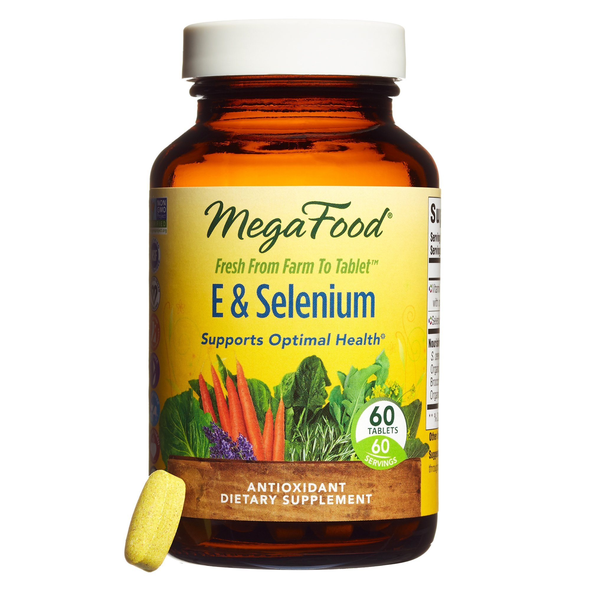 MegaFood - E & Selenium, Antioxidant Support for a Healthy Thyroid, Prostate, and Aging with Sunflower, Organic Brown Rice, and Turmeric Root, Vegan, Gluten-Free, Non-GMO, 60 Tablets (FFP)