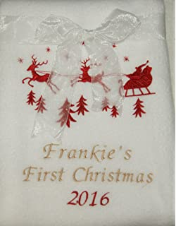 Personalised Luxury Baby Blanket Red Soft Fluffy 1st Christmas Gift Embroidered