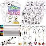 TUPARKA 60 Pcs Heat Shrink Plastic Sheet Kit,Heat Shrinky Sheets Creative Pack,Including 10Pcs Blank Shrink Film Paper…