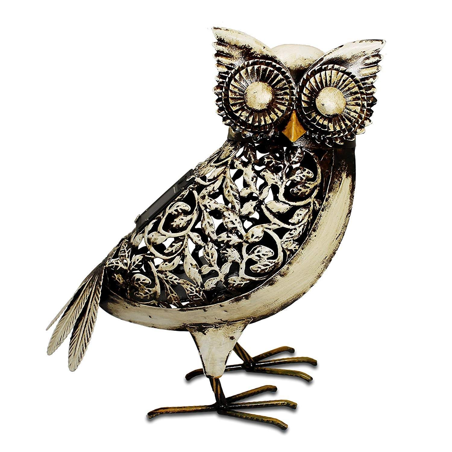 Outdoor LED Solar Owl Light White Metal Garden Ornament by Primus