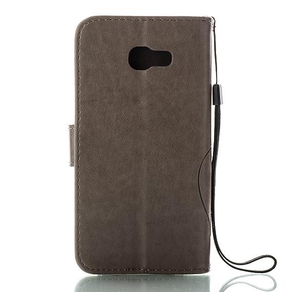 Unisnug Coque Samsung Galaxy A5 2017 Cuir,Pochette Portefeuille pour Galaxy  A5 2017 Etui Rabat Housse Protection Samsung A5 2017 SM-A520F Coques-Gris   ... 3872ad02d44