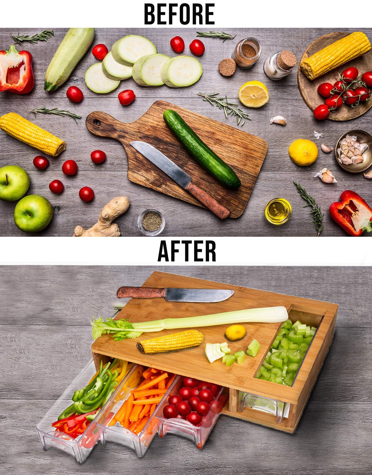 Large Bamboo Cutting Board with Trays/Draws - Wood Butcher Block with 4 Drawers & Opening For Meat, Fruits, Veggies, Bread, Cheese – Naturally Antimicrobial – Make Meal Prep Easy by Simpli Better (Image #2)