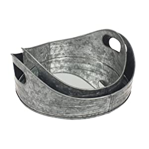 Stonebriar Round Nesting Galvanized Metal Serving Tray Set with Handles, Rustic Butler Trays, For Serving Food and Drink, a Unique Coffee Table Centerpiece, or Desk Organizer for Documents