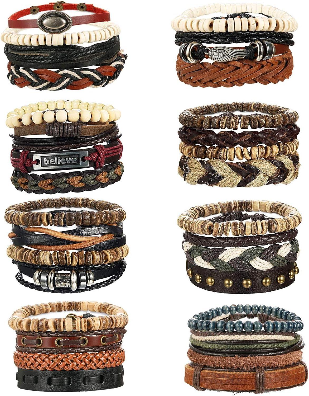 Milacolato 31-32 Pcs Braided Leather Wooden Beads Bracelets for Men Women Unisex Multilayer TribalLeather Adjustable Bracelet Cuff Wrap Multicolor Rope Wristband
