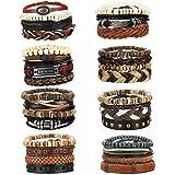 Milacolato 31-32 Pcs Braided Leather Wooden Beads Bracelets for Men Women Unisex Multilayer Tribal Leather Adjustable…