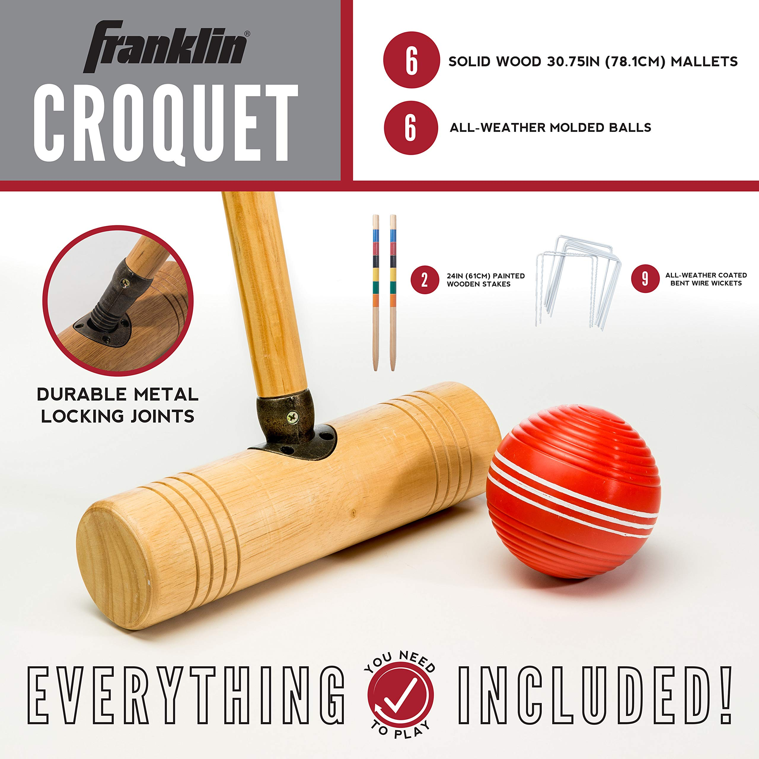 Franklin Sports Croquet Set - Up to 6 Players - Professional Quality Croquet Set for Lawn Games - Complete Croquet Set with Carrying Case - Includes Wooden Mallets, Durable Balls, Weatherproof Wickets by Franklin Sports (Image #2)
