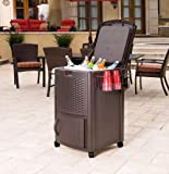 Suncast Resin Wicker Outdoor Cooler with Wheels